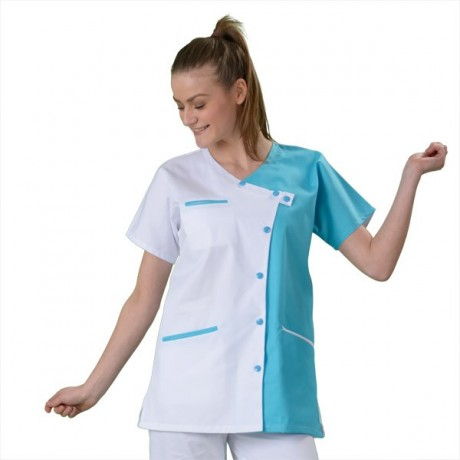Blouse Medicale Femme Blanche Et Turquoise